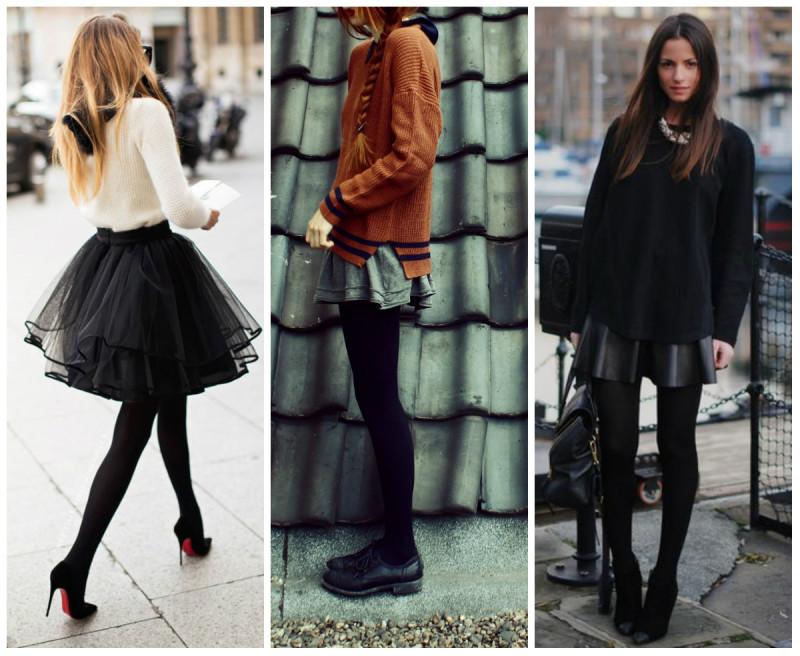 Какие колготки можно носить с черной юбкой