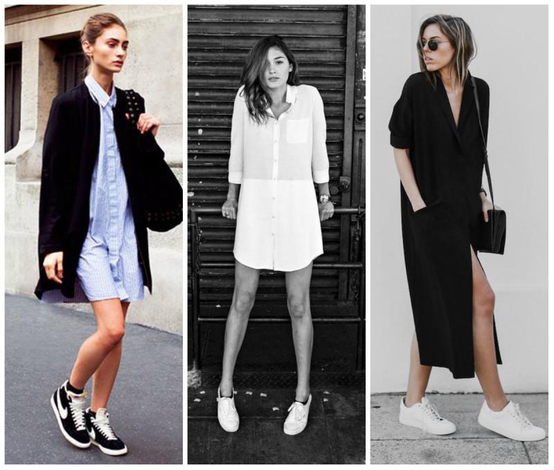 Платья с короткими ботинками без каблуков
