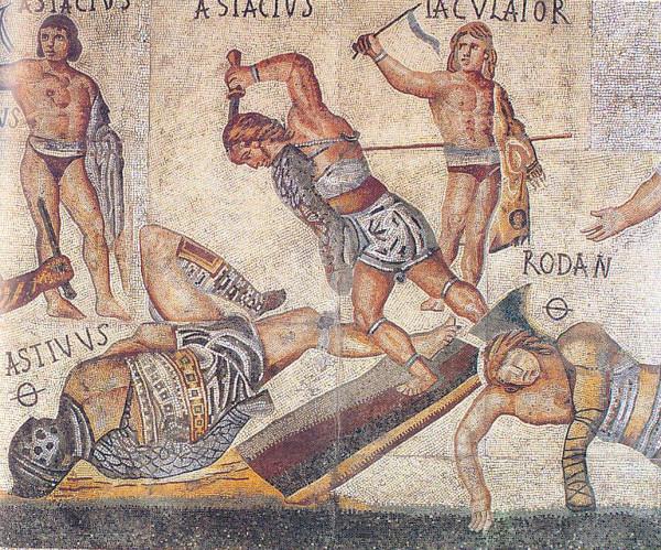 Retiarius_vs_secutor_from_Borghese_mosaic
