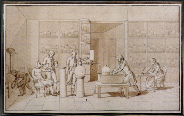 Madame-Lavoisiers-drawing-of-an-experiment-on-respiration-in-a-subject-at-rest-ca
