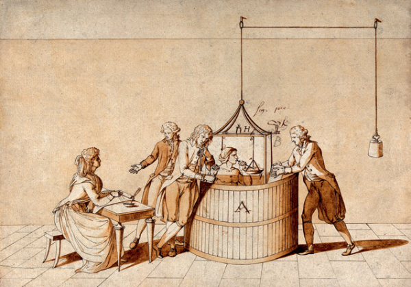 A-man-seated-with-his-head-inside-in-a-glass-container-ca-1790-Wellcome-Library
