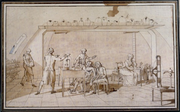 Madame-Lavoisiers-drawing-of-an-experiment-on-respiration-at-work-ca-1790-private