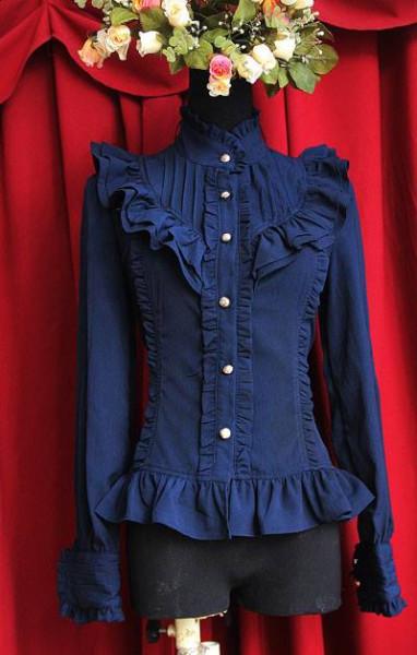 Infanta Chiffon Long-Sleeve Navy Blouse, Size XL