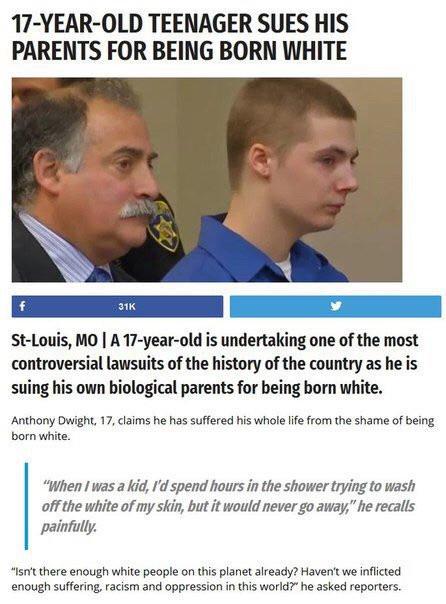 сын судится с родителями из-за цвета кожи