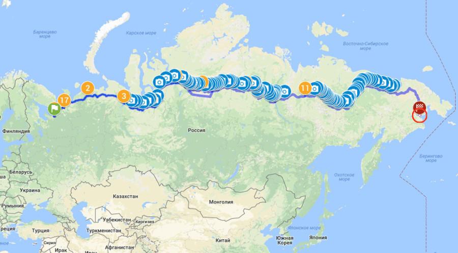 карта Трансконтинентальной экспедиции На Восток!