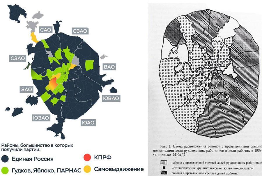 карта выборов в Москве