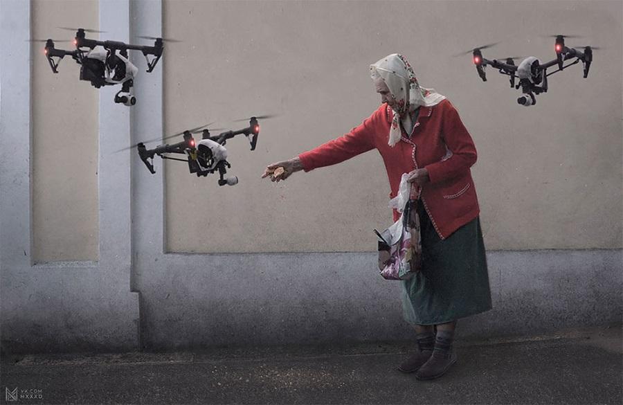 кормление дронов