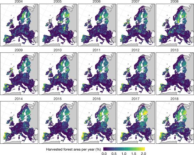 площадь вырубок в ЕС 2004-2018