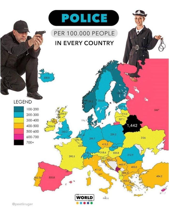 число полицейских на 100 тысяч жителей