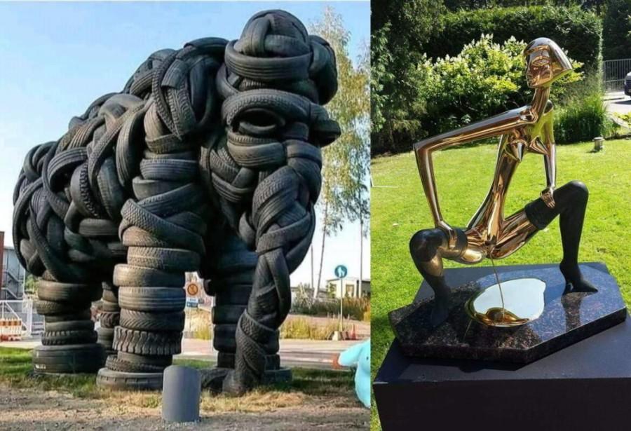 слон из шин и скульптура в Юрмале