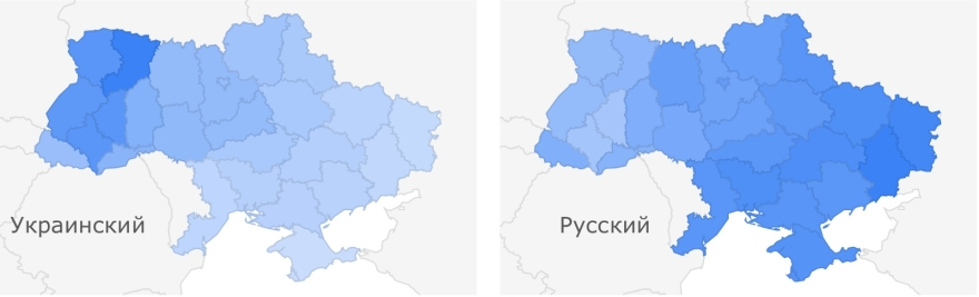 география языковых запросов на Руине