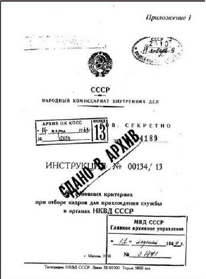 Инструкция по отбору кадров для НКВД