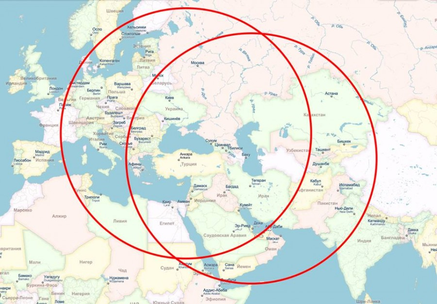 радиус действия крылатых ракет с Каспия и Чёрного моря