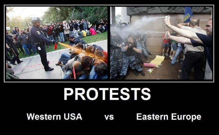 протесты в США и Восточной Европе