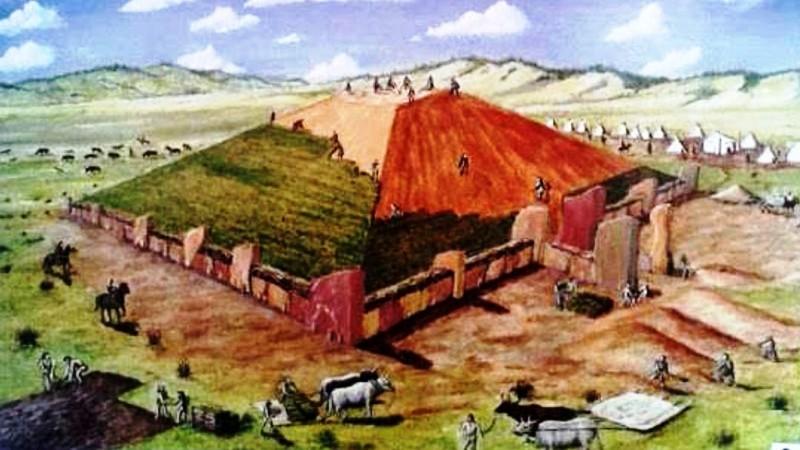 Реконструкция постройки Большого Салбыкского кургана.