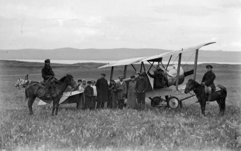 "Курорт Шира, прилет аэроплана ""Красноярец"", 5 сентября 1925 года, фото Вонаго Л.Ю."