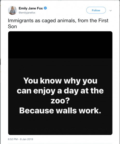 Immigrants as caged animals, from the First Son