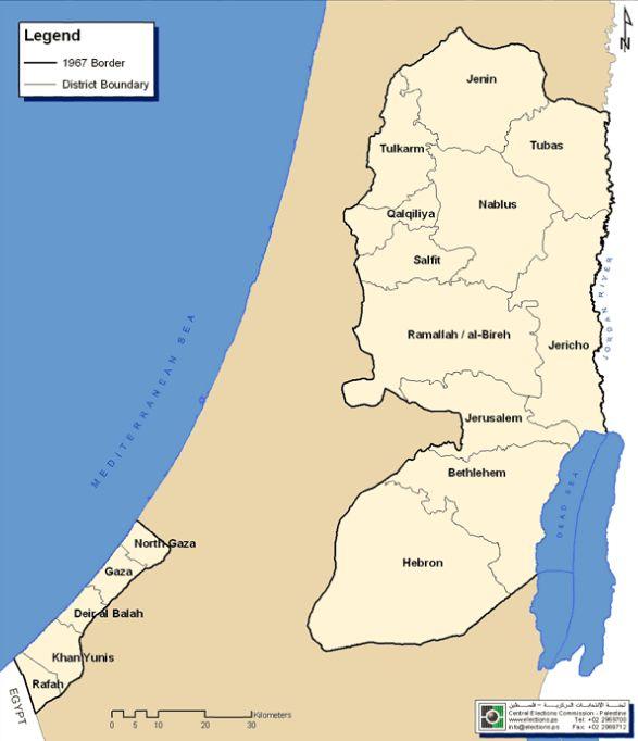 Электоральная карта Палестинской Автономии