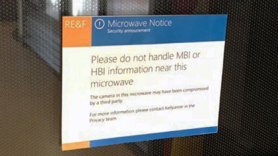 Please do not handle MBI or HBI information near this microwave
