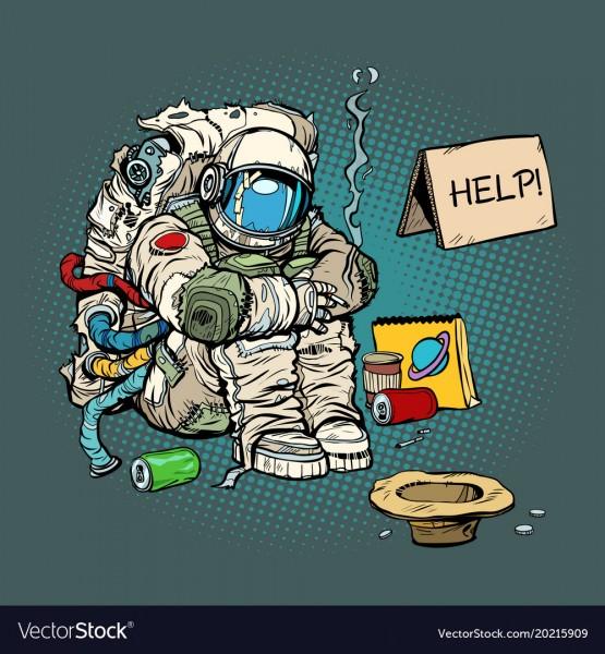 crowdfunding-concept-a-poor-homeless-astronaut-vector-20215909