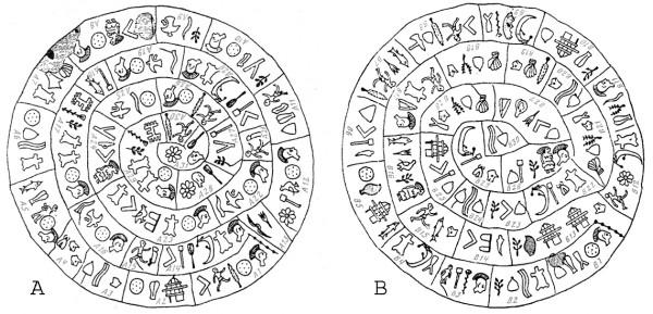 Фестский диск (схема двух сторон)