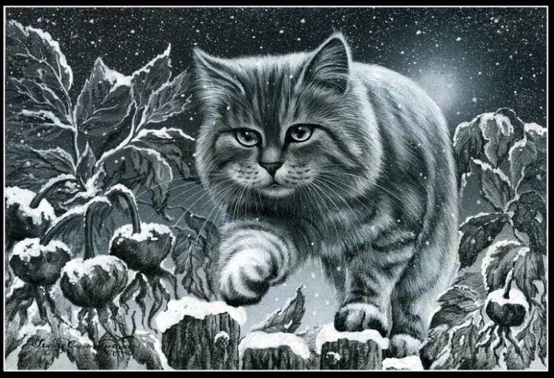 Снежный кот.  Это цитата сообщения.  Схемы вышивки - Котики.