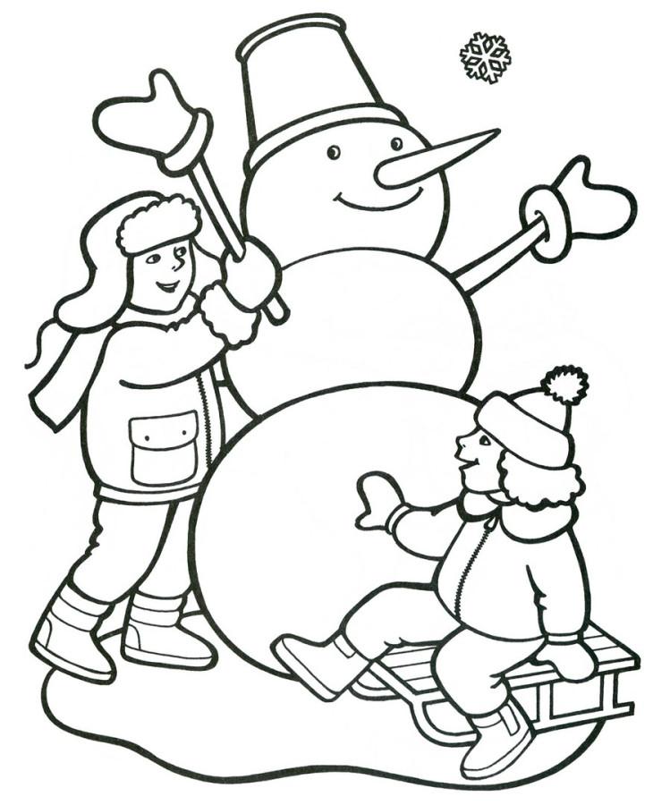Раскраски зима для детей 5 лет