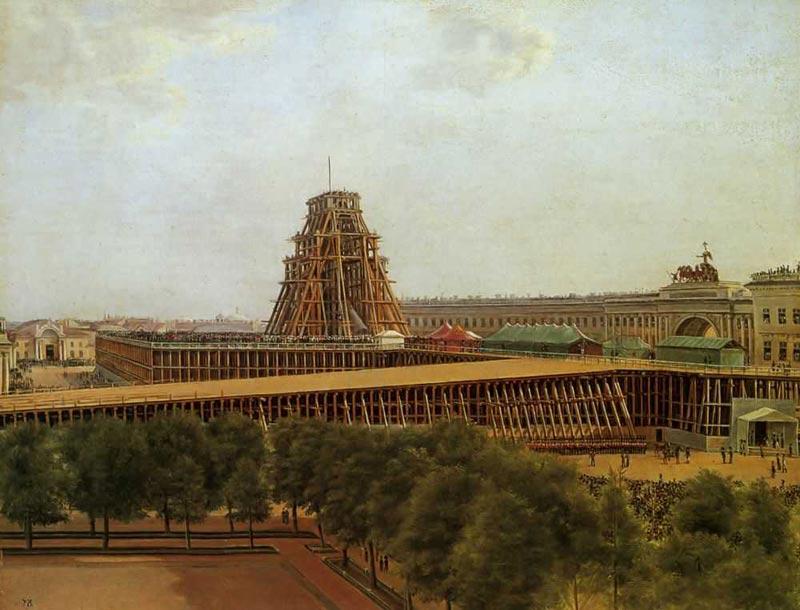 Денисов Александр Гаврилович. Подъем Александровской колонны. 1832