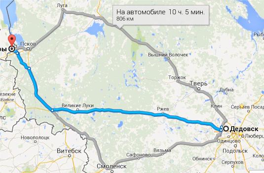 Дедовск-Печеры-3 маршрута