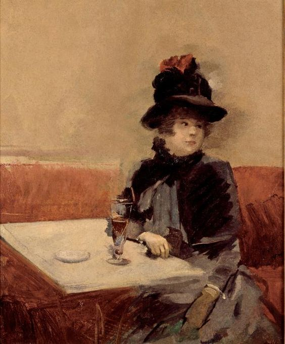 Jean-Louis Forain - Woman in a Cafe. And she looks a lot like me!