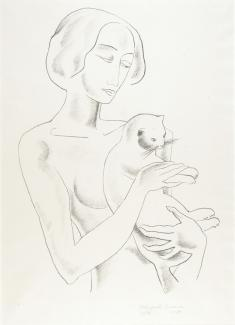 Маргарет Томпсон Зорач Женщина с кошкой.