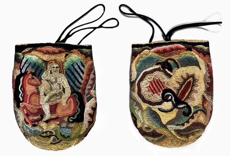 Маргарет Томпсон Зорач Кошелек, украшенный вышивкой.