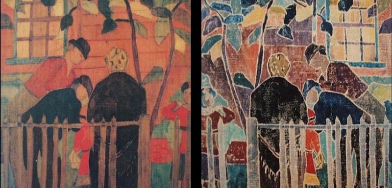 """Агнес Уэйнрич """"Сломанный Забор"""" - слева сама гравюра, справа - деревянный блок с которого она отпечатана."""