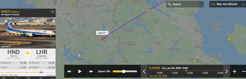 ANA-211 (All Nippon Airways) oli eilen, puolen päivän aikana, menossa Tokiosta (Haneda Kūkō) Lontooseen (Heathrow).
