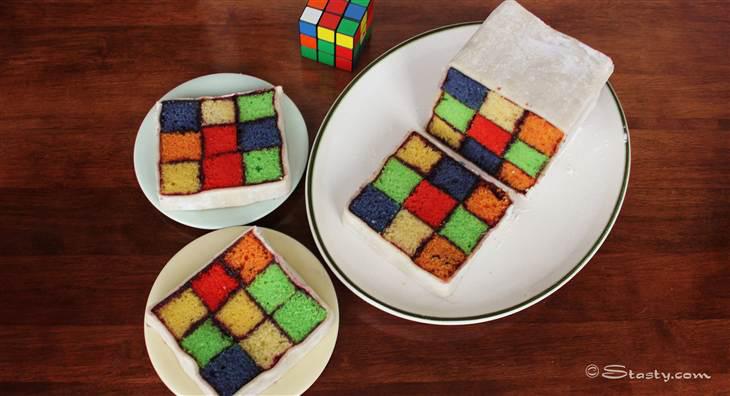 Торт Баттенберг «кубик Рубика»