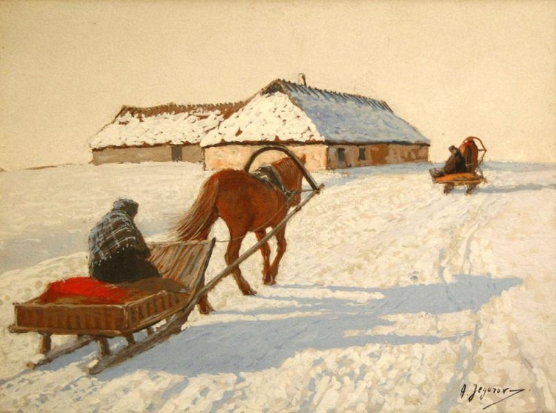 Две конные упряжки в зимнем пейзаже.