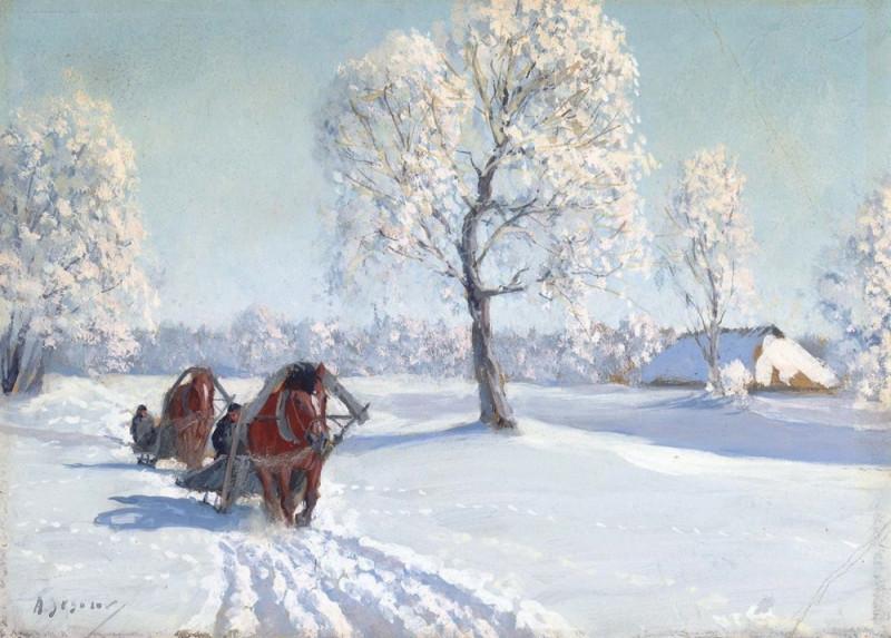 Двое саней на зимней дороге.