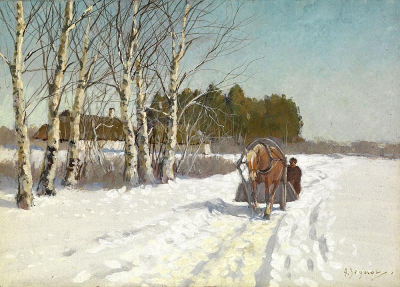 Лошадь с санями в заснеженном поле.