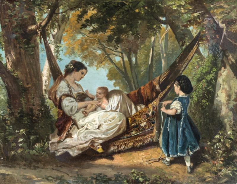 Женщина в гамаке с ребенком.
