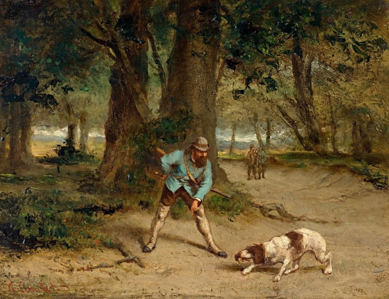 Охотник со своей собакой в лесном пейзаже.