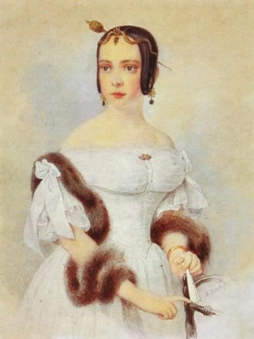 Портрет Александры Федоровны Шуберт (1824 — 1901), жена Н. Ф. Аделунга