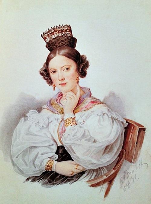 Софья Александровна Волкова (1812-1833), урождённая Саблукова. Двоюродная сестра Е. П. Бакуниной