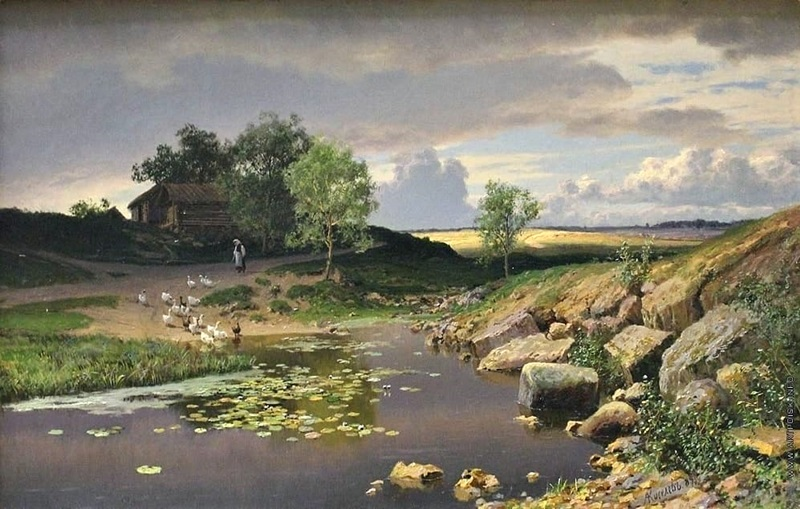 Пейзаж с гусями