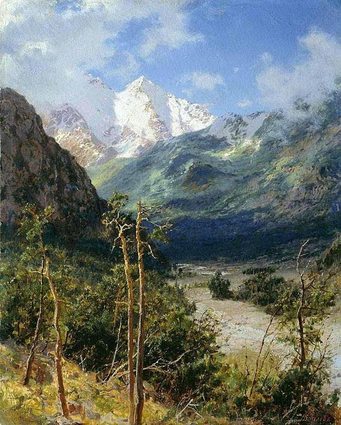 Горный пейзаж. Вершины Эльбруса