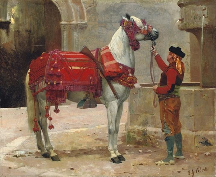Андалузская лошадь и всадник.