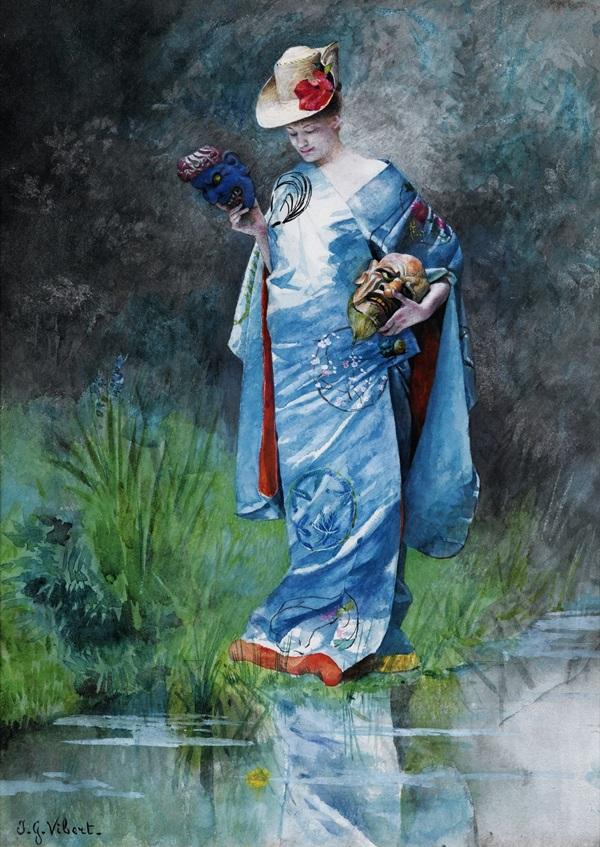 Женщина в кимоно, держащая маски.