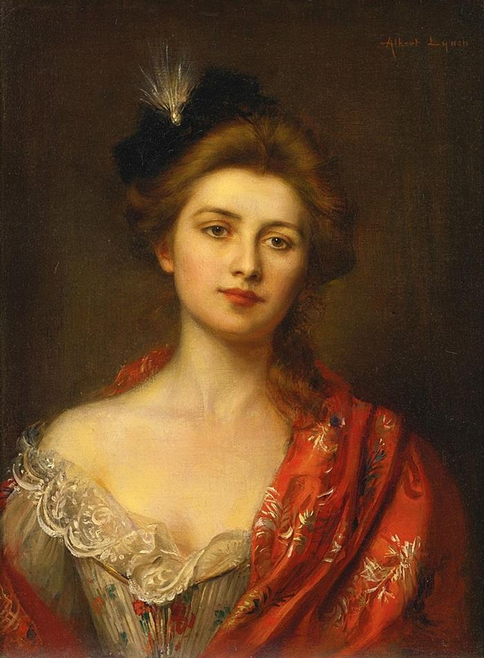 Женщина в красной шали