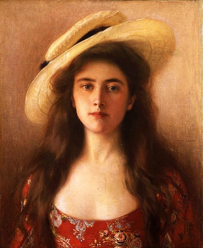 Юная красавица в соломенной шляпе