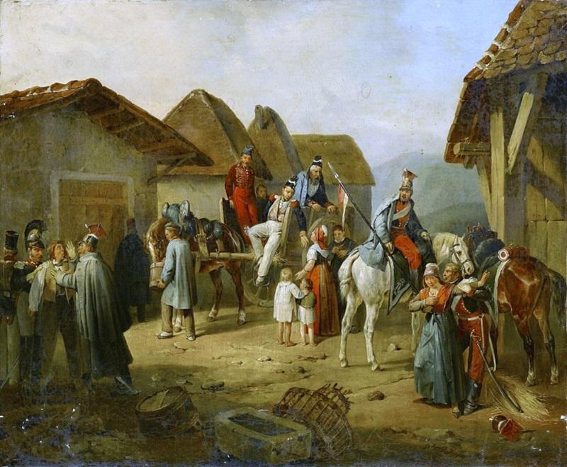 Австрийская кавалерия отдыхает в деревне