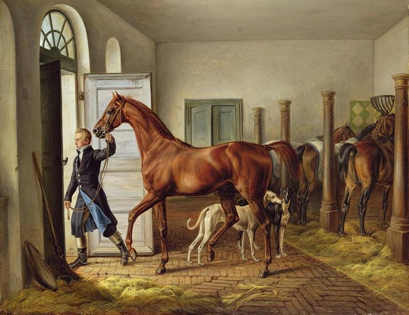 Жених, ведущий лошадь из конюшни